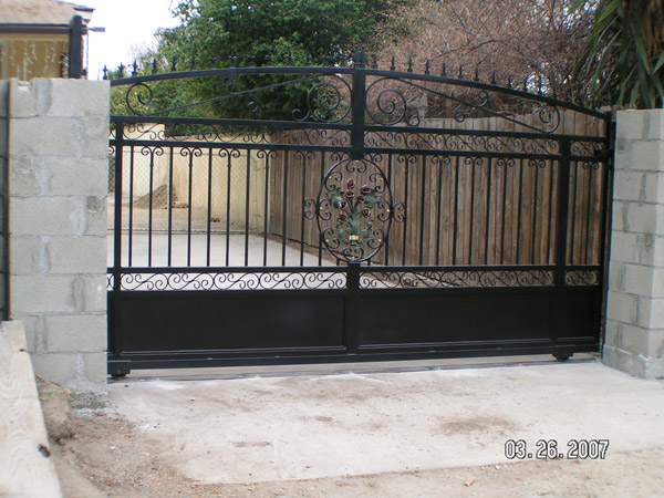 iron metal gate at driveway entrance