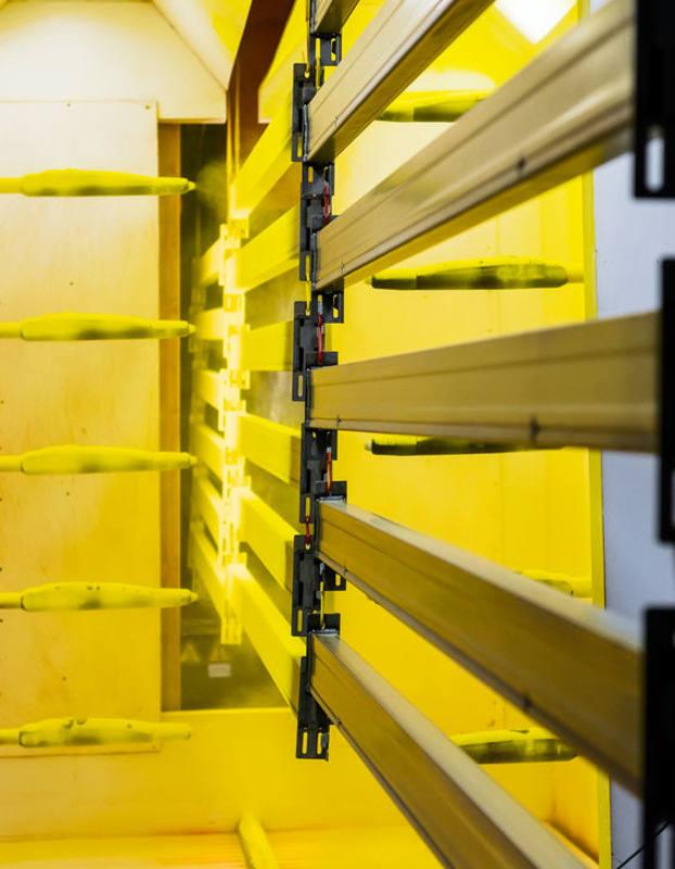 inside powder coating room